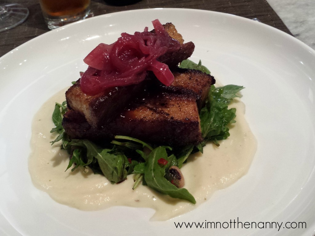 roasted pork belly with black-eyed pea & arugula salad, parsnip puree ...