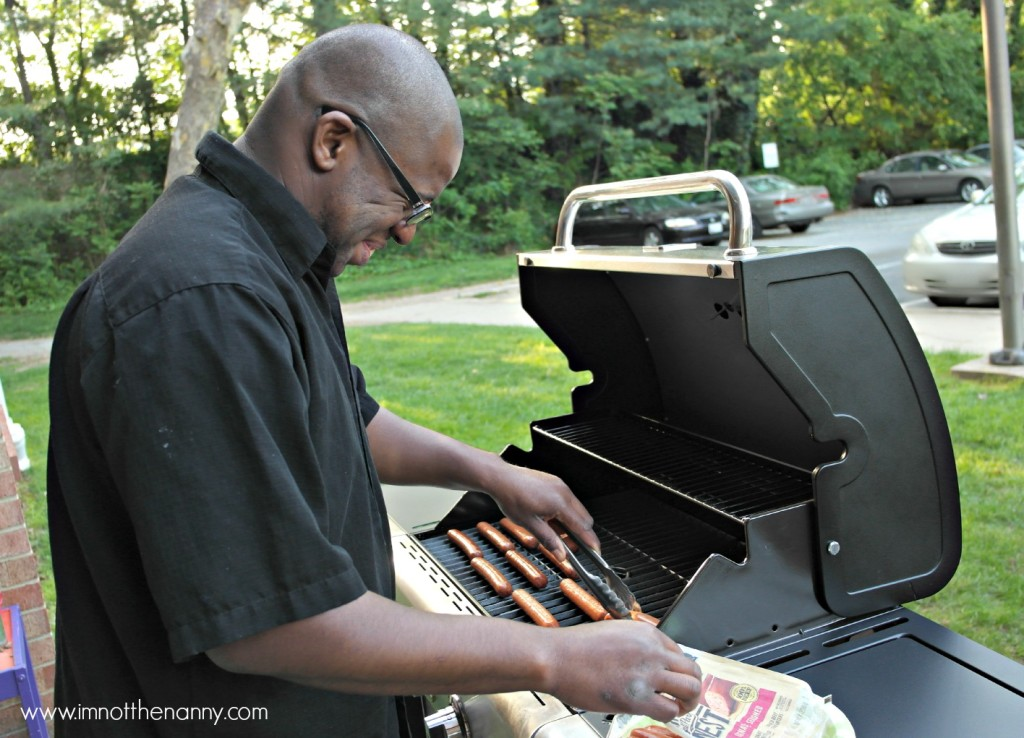 Hubby Grilling Hot Dogs #StartYourGrill #CollectiveBias-I'm Not the Nanny