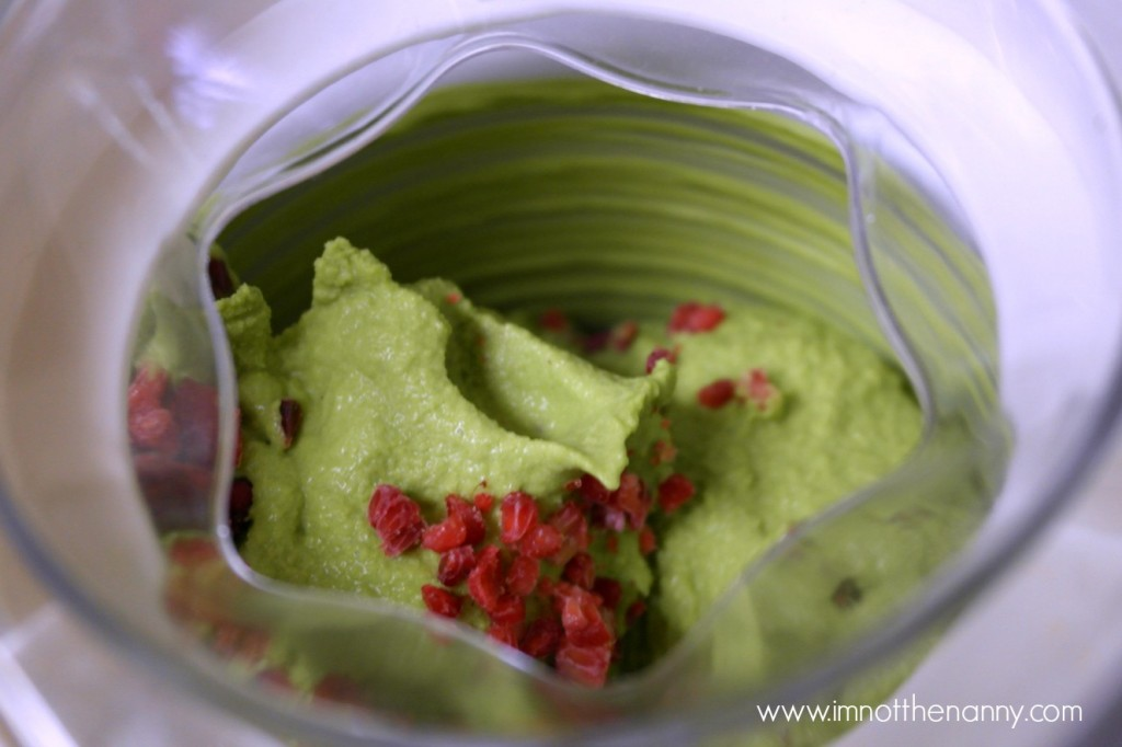 Frozen raspberries in Green tea ice cream-I'm Not the Nanny #SilkAlmondBlends #shop