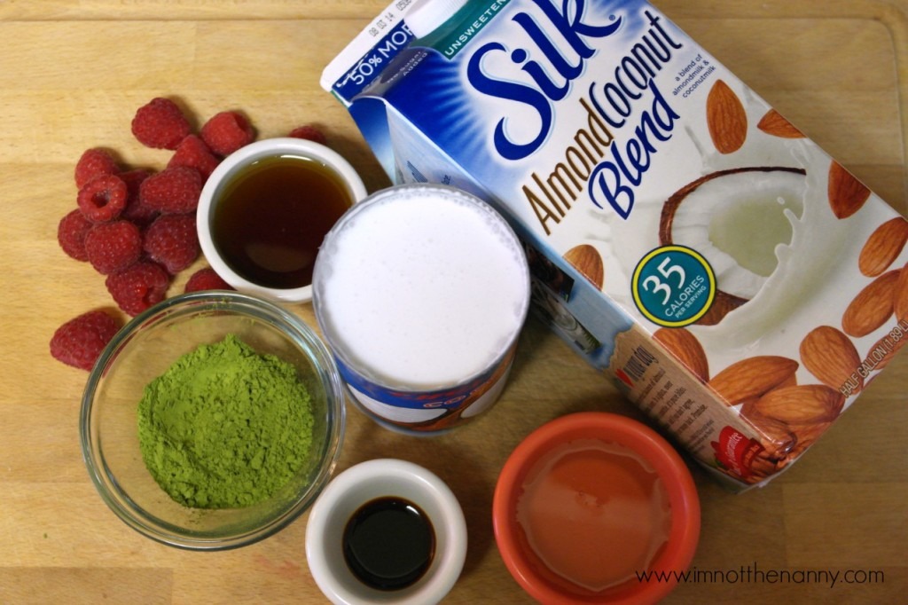 Ingredients for green tea ice cream-I'm Not the Nanny #SilkAlmondBlends #shop