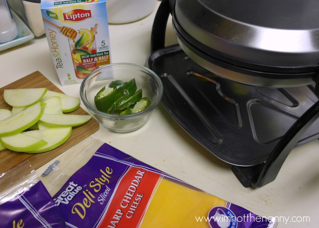 Ingredients for Waffle Maker Grilled Cheese--I'm Not the Nanny #TEArifficPairs #shop