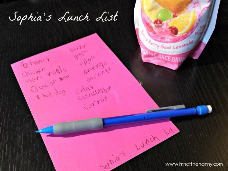Sophia's Lunch List #RocktheLunchbox-I'm Not the Nanny