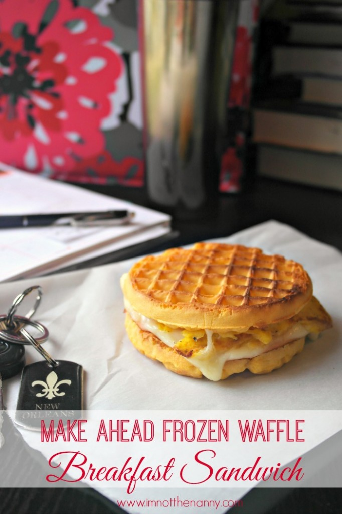 Make Ahead Frozen Waffle Breakfast Sandwiches #shop #4MoreWaffles at I'm Not the Nanny