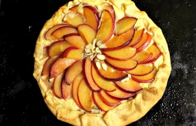 Rustic Plum Tart with goat cheese and almonds-I'm Not the Nanny