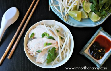 Easy Chicken Pho Ga Recipe Plated-I'm Not the Nanny