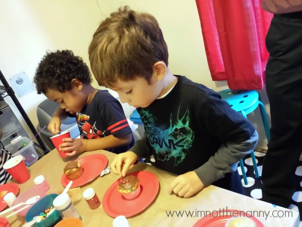 Spider-man party cupcake decorating station