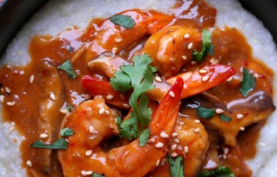 You'll love these super easy Sriracha Sesame Shrimp and Grits recipe via I'm Not the Nanny