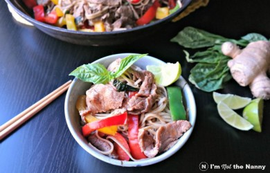 Easy Basil Beef & Bell Pepper Noodle Stir Fry recipe via I'm Not the Nanny #WeekdaySupper