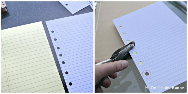 Cutting and punching paper for scrapbook inserts via I'm Not the Nanny