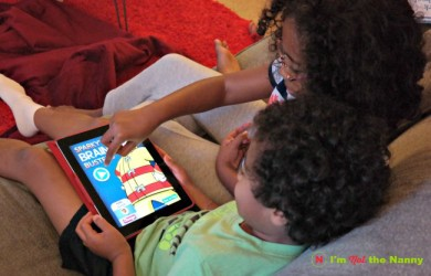 Kids Playing Sparky's Brain Busters App via I'm Not the Nanny