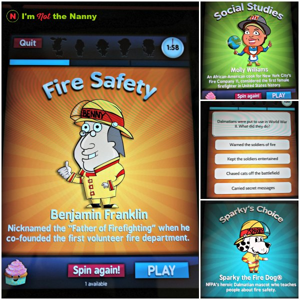 Sparky Brain Buster is a free app and trivia game. Kids test themselves on fire safety, science, math, and social studies. Full review at I'm Not the Nanny