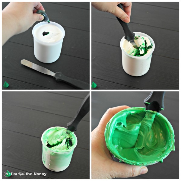 Making green frosting for football field cake