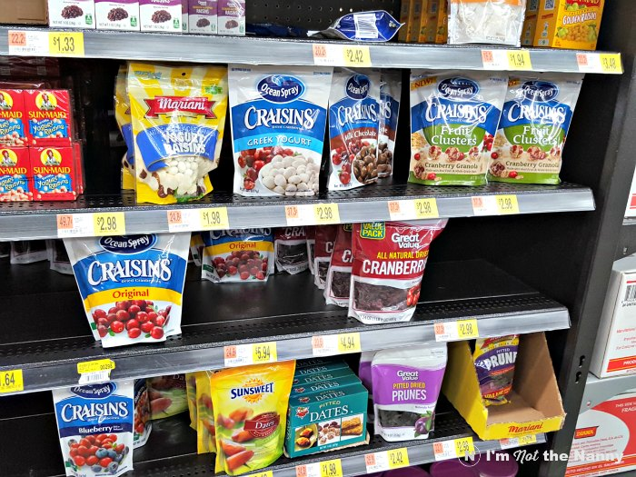 Shelf of Ocean Spray Craisins at Walmart