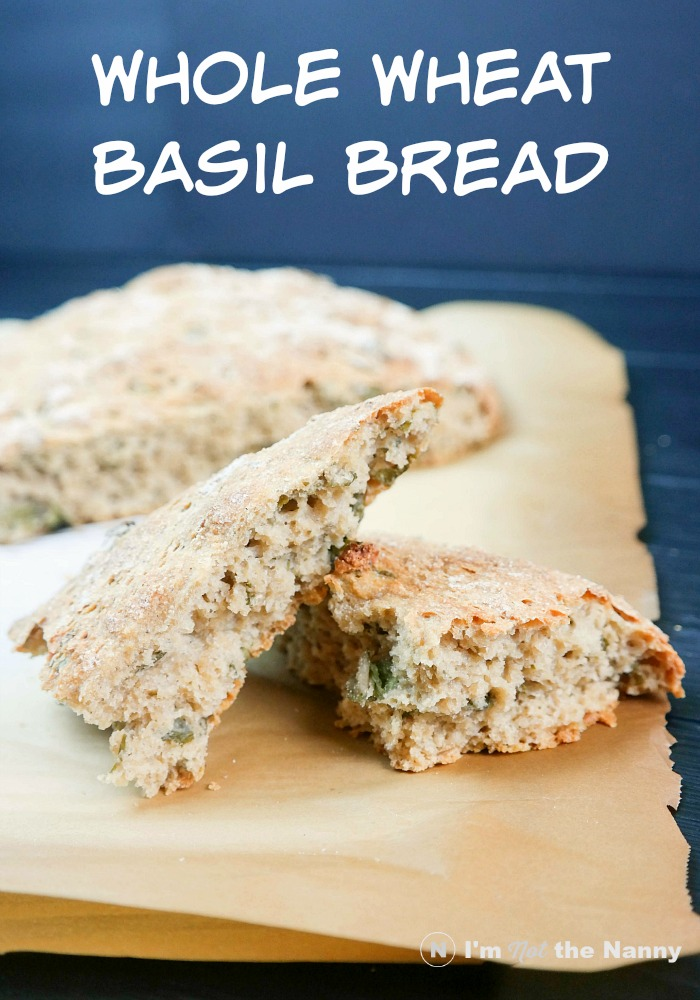 No Knead Whole Wheat Basil Bread recipe
