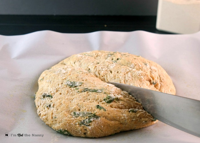 Slashing Basil Bread Dough