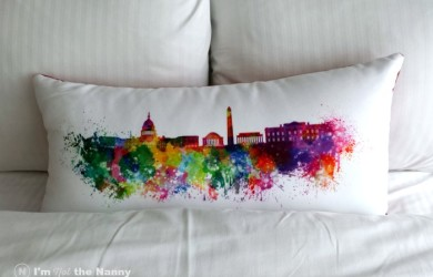 Bed with DC printed pillow