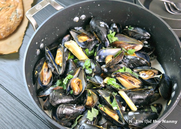 Coconut Lemongrass Mussels Mussels served in dutch oven