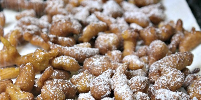 Funnel cake bites with powdered sugar