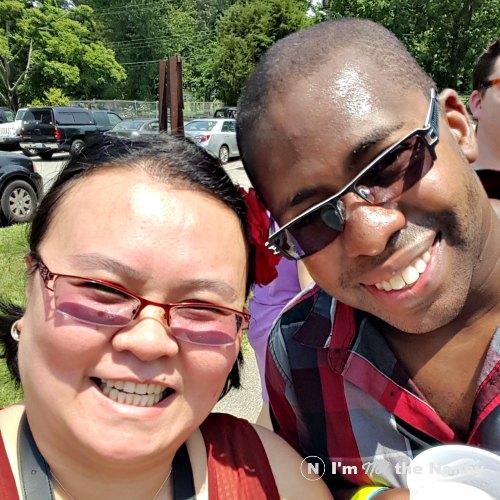 Kim with husband at crawfish boil