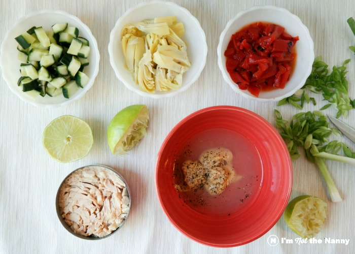 Ingredients for tuna with dijon vinaigrette