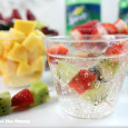 Sprite with fruit kabob garnish