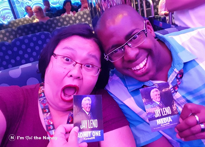 Spousie at Jay Leno show #CarnivalLive