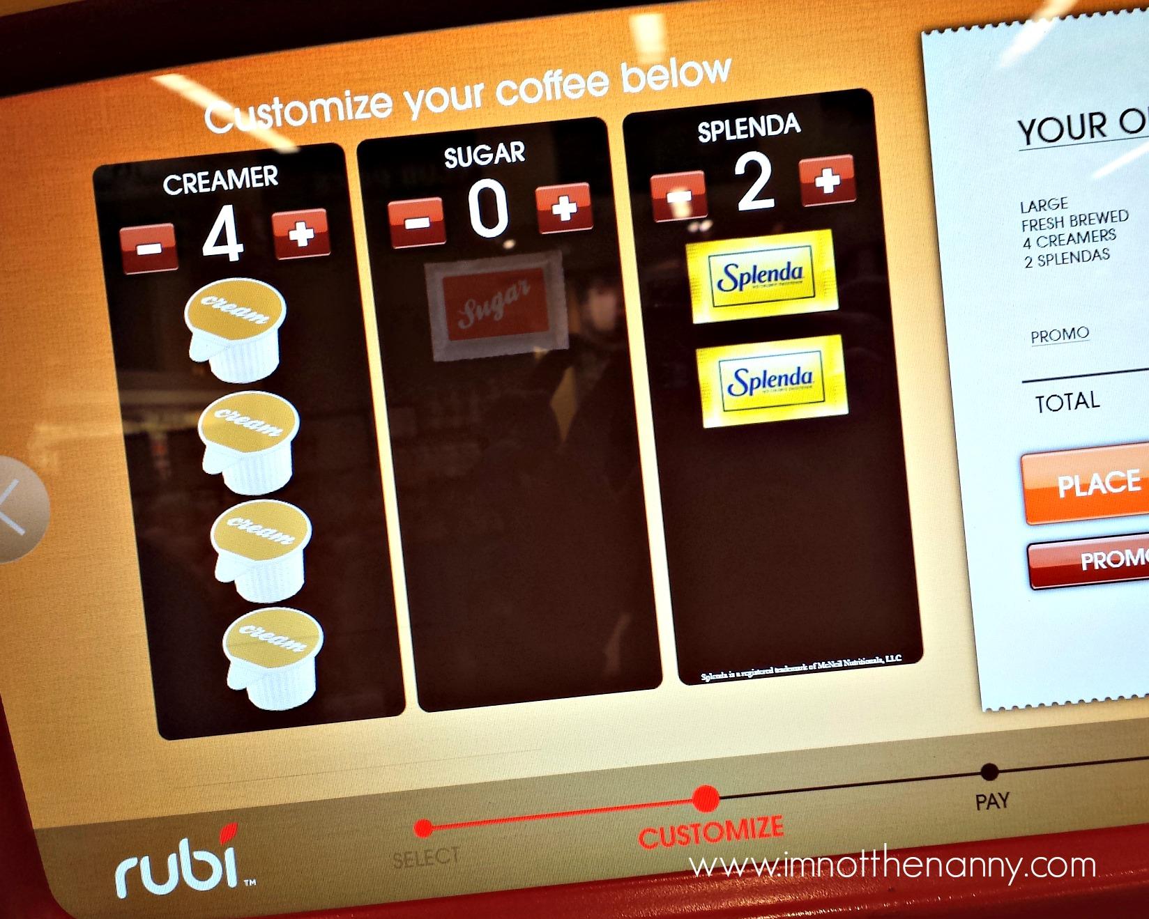 Customize my coffee at Rubi Kiosk #Rubi2Go #shop