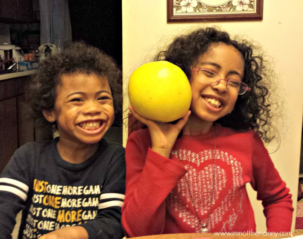 Kids with Pomelo for Lunar New Year-I'm Not the Nanny