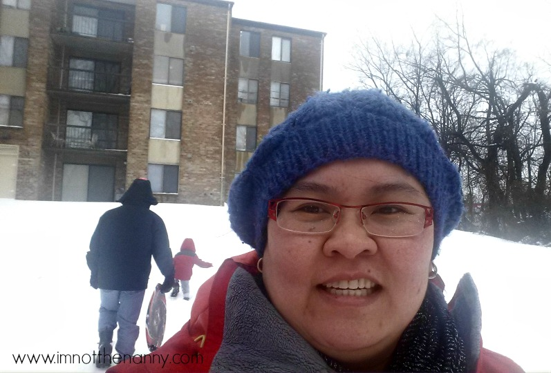 Motherhood selfie sledding-I'm Not the Nanny