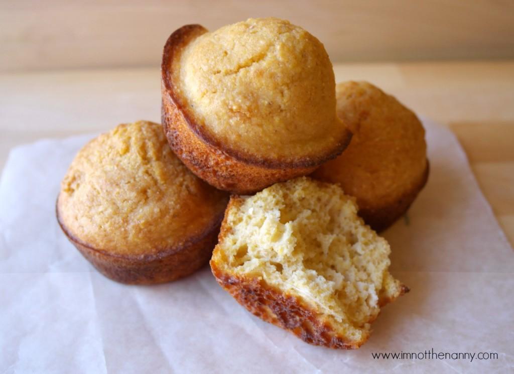 Honey Cornbread Muffins with Greek Yogurt-I'm Not the Nanny