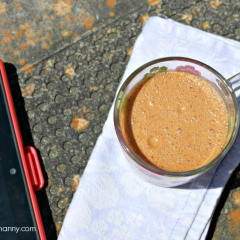 Cafe Au Lait Smoothie Outdoor Breakfast-I'm Not the Nanny #KefirCreations #shop