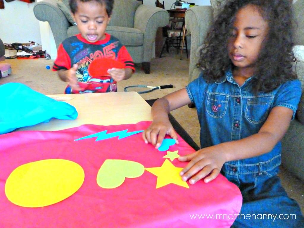 Kids Making Kiwi Crate Capes-I'm Not the Nanny