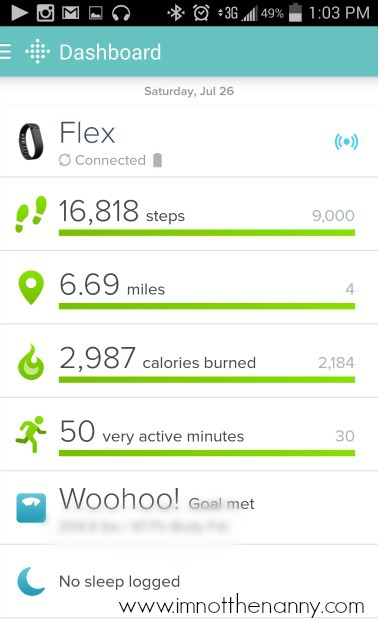 BlogHer FitBit Log-I'm Not the Nanny