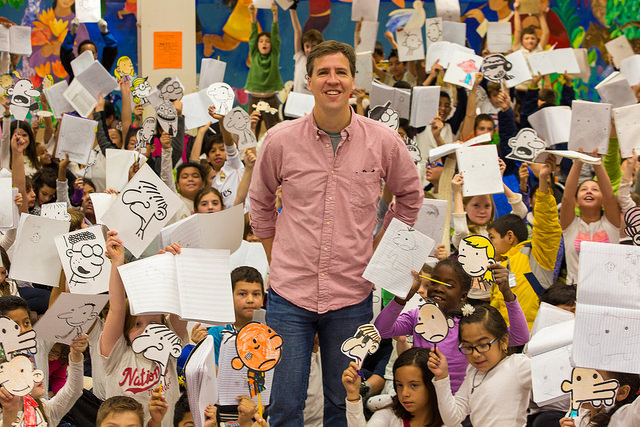 Jeff Kinney with Key ES Students Photo Credit: National Educator Association