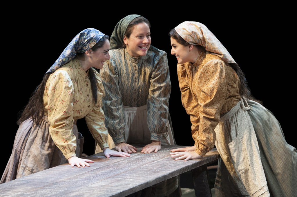 (L to R) Hannah Corneau as Hodel, Dorea Schmidt as Tzeitel and Maria Rizzo as Chava in Fiddler on the Roof at Arena Stage at the Mead Center for American Theater October 31, 2014-January 4, 2015. Photo by Margot Schulman.