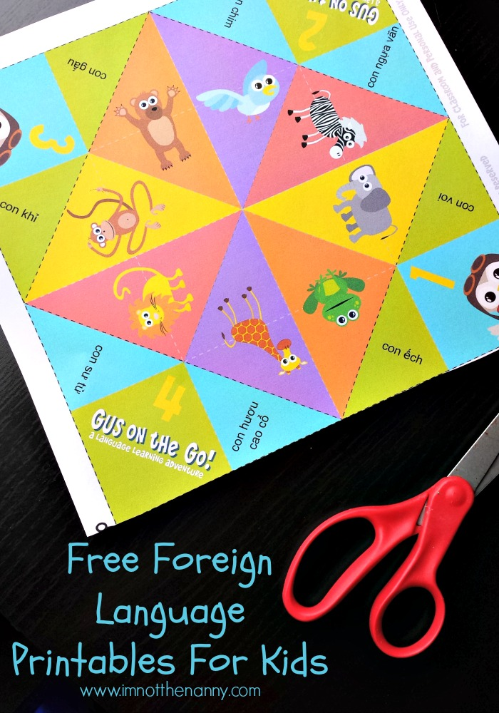 Free Foreign Language Printables For Kids in over 15 languages via I'm Not the Nanny