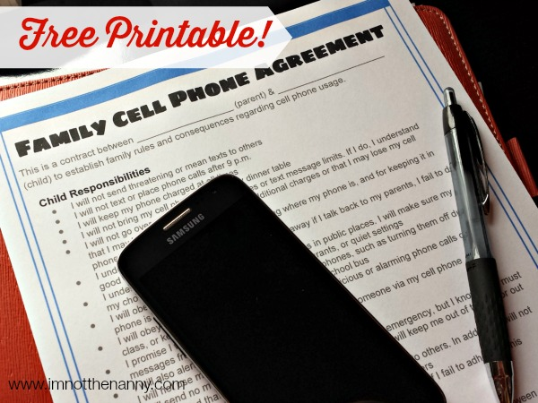 Free Printable Child Parent Cell Phone Agreement via I'm Not the Nanny