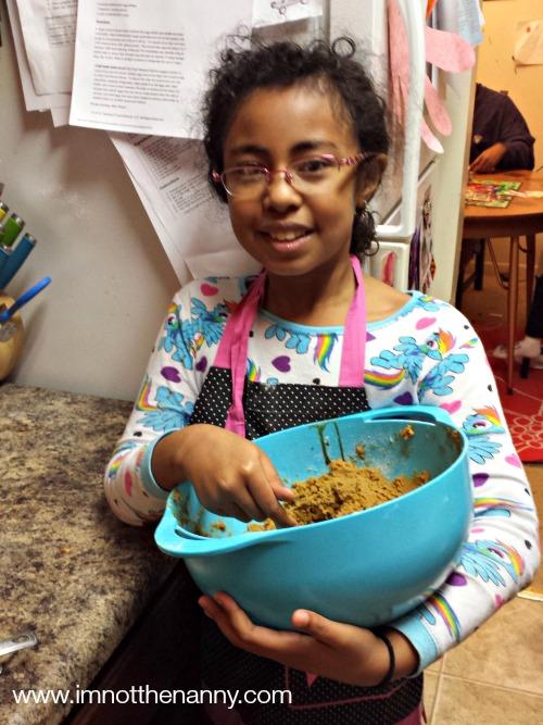 Sophia baking cookies