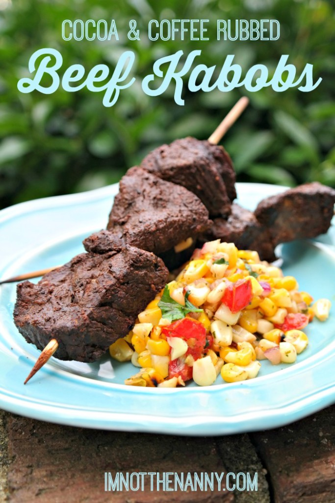 Cocoa & Coffee Rubbed Beef Kabobs recipe via I'm Not the Nanny