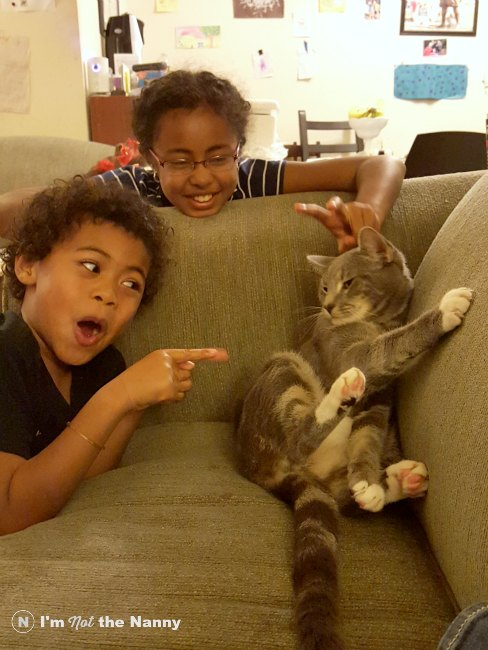 Kids with Max the cat