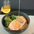 Salmon Quinoa with Roasted Broccoli Bowl with Orange Sesame Dressing. This bowl packs a protein punch and full of flavor. #SamsClubMag #CollectiveBias