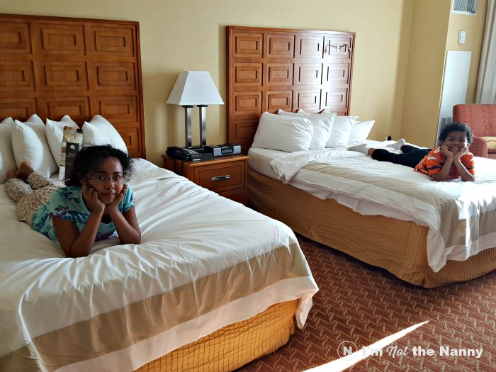 Kids testing beds at Marriott Waterfront Baltimore