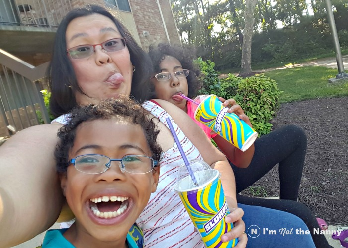 Silly selfie with kids
