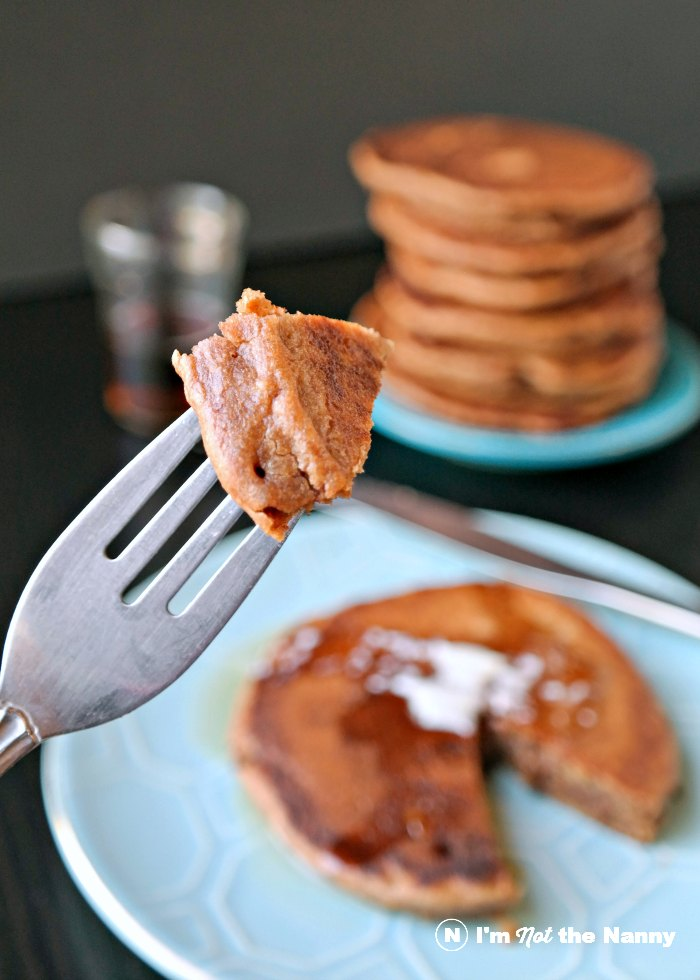 A bite of chocolate hazelnut pancakes