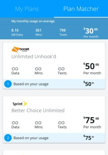 Mobile Plan Matcher on MyDataManager App