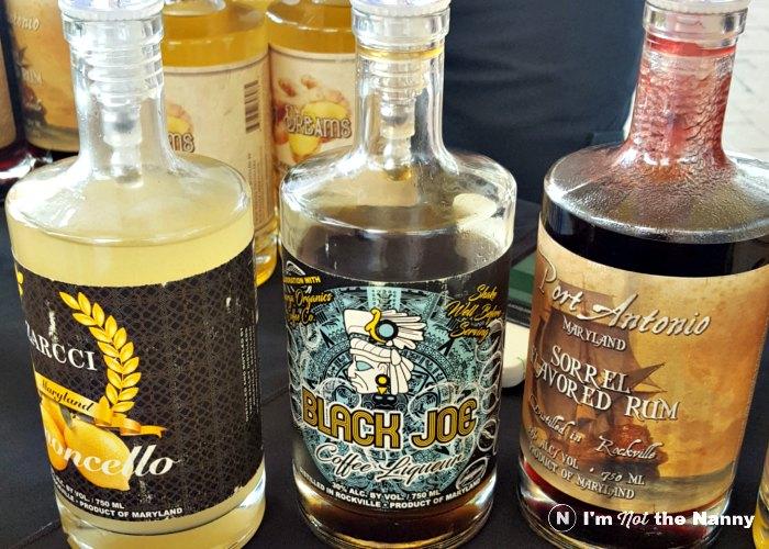 Sampling flavored liquors at farmers market