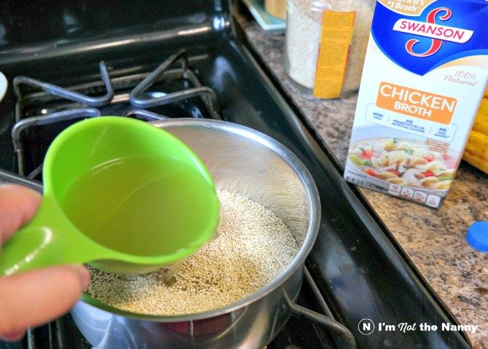 Adding chicken broth to quinoa