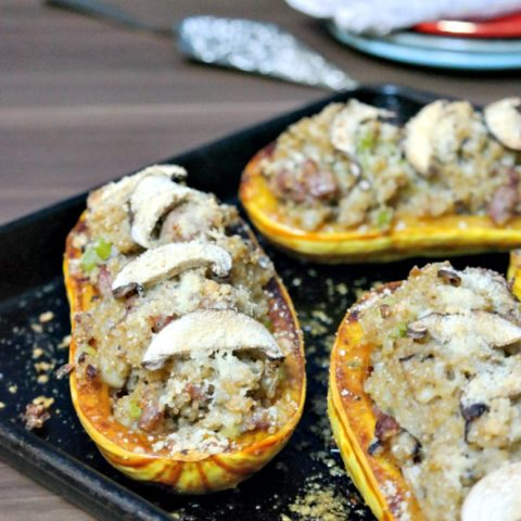 Roasted Mushroom, Andouille, & Quinoa Stuffed Squash