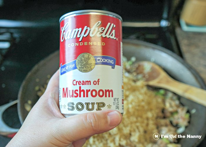 Cream of Mushroom soup into stuffing