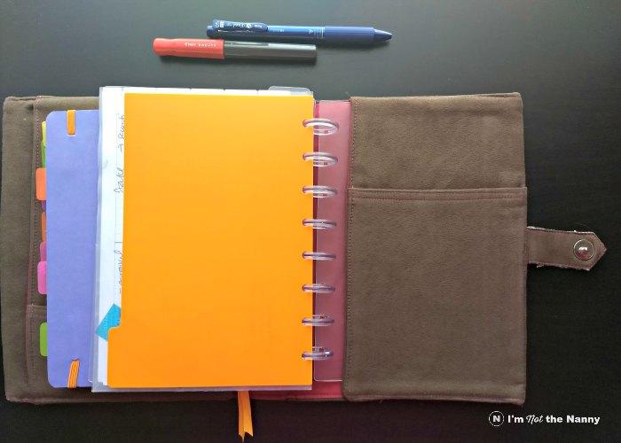 back pocket of handmade planner cover